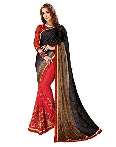 Viva N Diva Sarees for Women's Embroidery Work Red & Shaded Black Brown Self Jacquard & Dyed Georgette Saree with Un-Stiched Blouse Piece,Party Sari