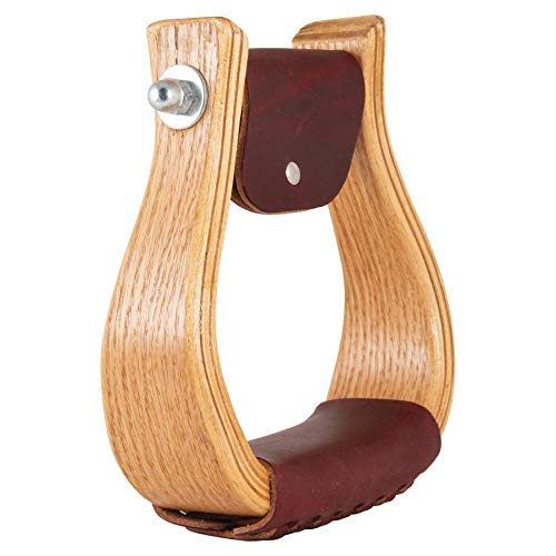 5-1/2″ Wide Oak Bell Stirrups with 2″ Leather Tread