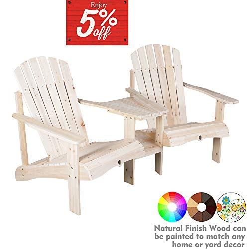 kdgarden Outdoor Double Lounge Adirondack Chairs Loveseat Set with Table, Cedar/Fir Log Tete-A-Tete, Natural Finish (Tete Tete Adirondack A)