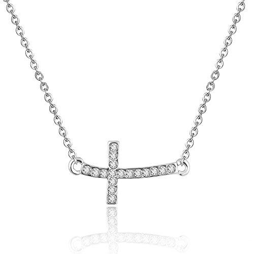 Sideways Crystal Cross Fashion (lureme Shiny Crystal Silver Sideways Cross Curved Cute Necklace)