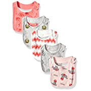 Rosie Pope Baby 5 Pack Bibs, Red, One Size