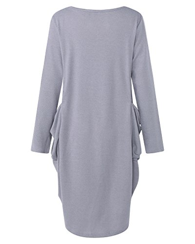Robe Grande Saison Taille Manche Tunique Robe Longue Femme Gris Mi Longue Pull Kidsform gdPwqg