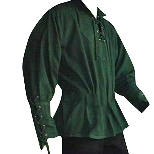 Men Medieval Costume,Lace Up Renaissance Costume Mercenary Scottish Wide Cuff Coats (Asian Size:XL, Green)]()