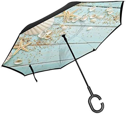 Starfish Shells Pebbles DecorationDouble Layer Inverted Umbrella With C-Shaped Handle, Anti-UV Waterproof Windproof Straight Umbrella For Car Rain Outdoor Use