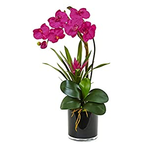 Artificial Flowers -Ruby Orchid and Bromeliad in Glossy Black Cylinder 50