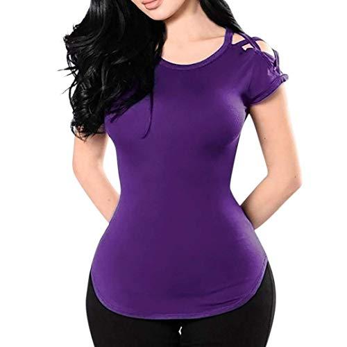 Slim Rond Style Haut Col Mode Tshirt Spcial Uni Courtes Et Top Casual Manche lgant Fit Confortable Crossover Irrgulier Manches T Lilas Femme Shirts z1Zwx8qW7A