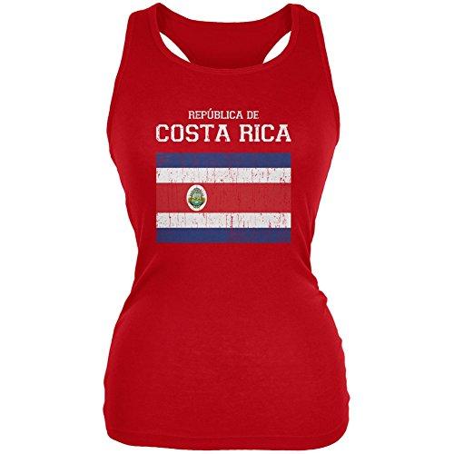 World Cup Distressed Flag Republica de Costa Rica Red Juniors Soft Tank Top - Medium