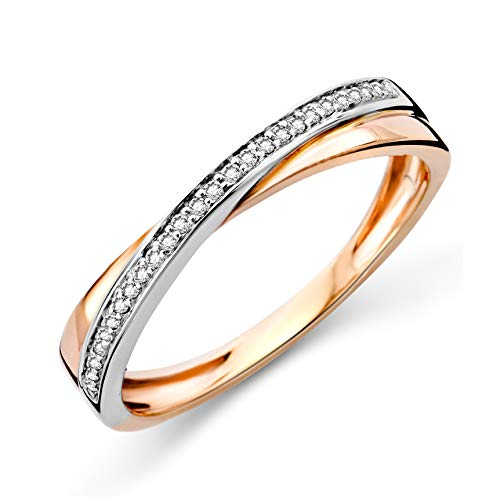 Miore cross over white and rose gold 9 kt 375 diamond eternity ring 0.08ct