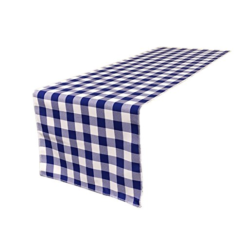 LA Linen Double Sided Checkered Gingham Table Runner 14 by 108