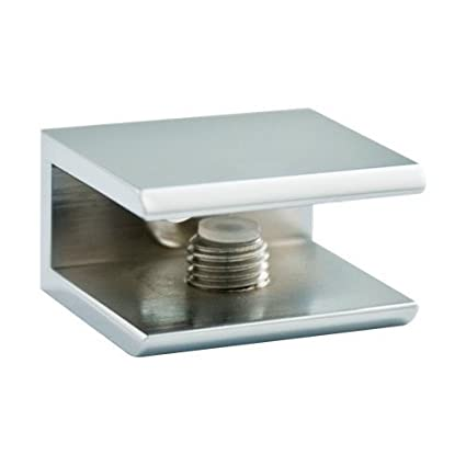 Amazon.com: Glass Shelf Brackets Square Chrome for Glass, Acrylic or ...