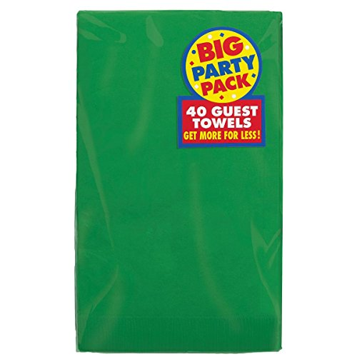 Amscan Big Party Pack Durable Guest Towels Tableware, 40 Pieces, Made from Paper, Festive Green, by
