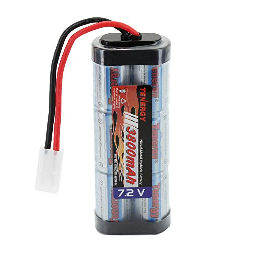 Tenergy 7.2V Battery Pack for RC Car, High Capacity 6-Cell 3800mAh NiMH Flat Battery Pack, Replacement Hobby Battery with Standard Tamiya ()