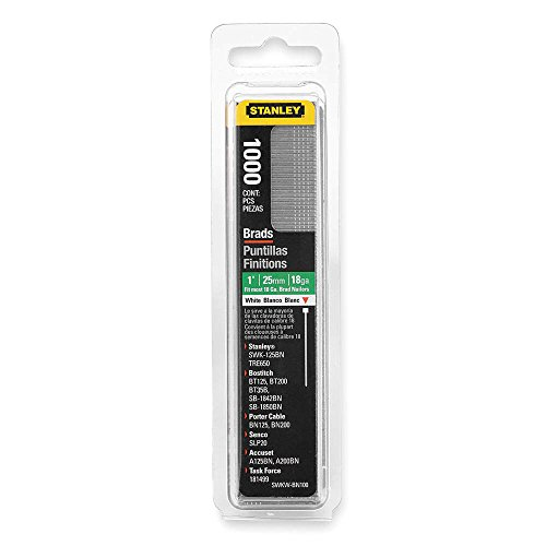 Stanley Swkwbn100 1 Inch White Brad NailsPack of 1000Pack of 1000