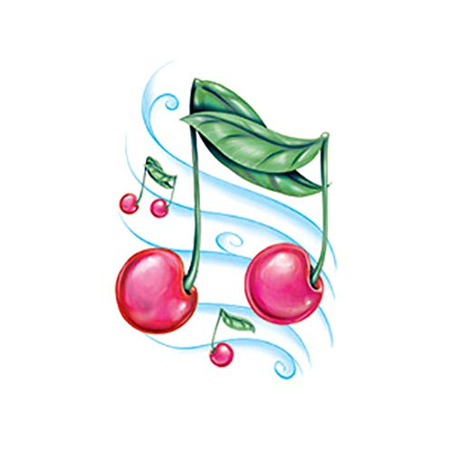 (Sugar Glittered Temporary Tattoo Sparkling Cherries & Music Notes Body Face Sticker - Made in USA)