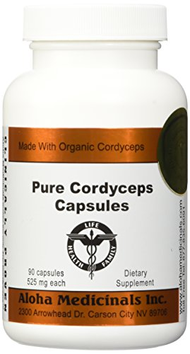 Pure Cordyceps Capsules 525 mg 90 capsules pack of 6 by Aloha Medicinals