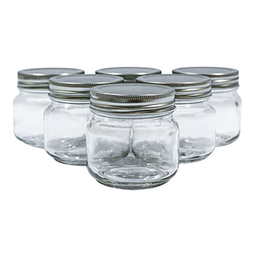 Golden Spoon Mason Jars, With Regular Lids, And Lids for Drinking, Dishwasher Safe, BPA Free, (Set of 6) (8 oz) (Glass Jar 8 Oz With Lid)