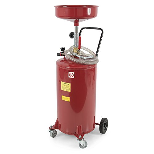 ARKSEN 20 Gallon Portable Waste Oil Drain Tank Air Operated Drainage Adjustable Funnel Height w/Wheel, Red (Roll In Pan Cart)