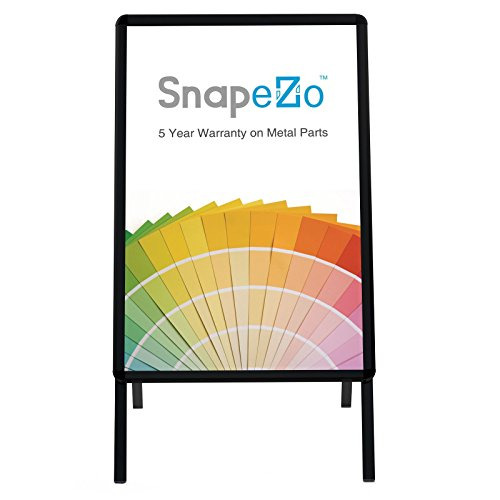 SnapeZo Black Sidewalk Sign A Board 22x28 Inches, Double-Sided Weather-Resistant Quick Change Snap Frame, 1.25 Inch Profile, Professional Series (Black Pvc Signs Board)