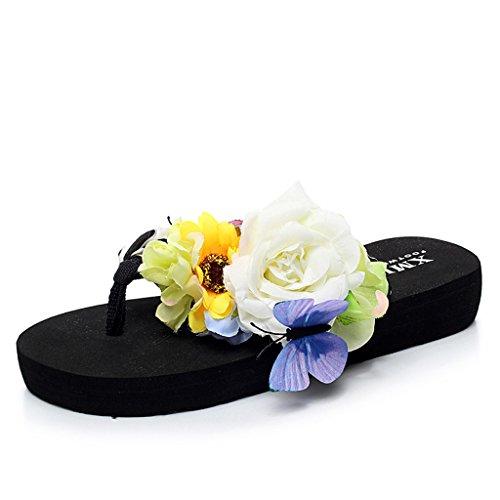 Damen Mädchen Böhmen Süße Blume Plateau Sandalen Pantoletten Flip Flops Keilabsatz Zehentrenner Sommer Freizeit Strandschuhe Hausschuhe Eagsouni ckseu0fQAn