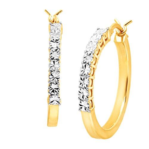 22k Gold Hoop Earrings (Tube Hoop Earrings with Diamonds in 22K Gold over Sterling Silver)