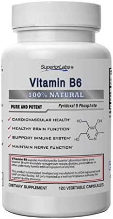 Superior Labs — Best Vitamin B6 Dietary Supplement — 50 mg Dosage,120 Vegetable Capsules —Supports Immune System Health — Healthy Brain Function — Cardiovascular Health Support