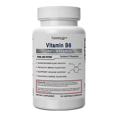 Superior Labs - Best Vitamin B6 Dietary Supplement - 50 mg Dosage,120 Vegetable Capsules -Supports Immune System Health - Healthy Brain Function - Cardiovascular Health Support (Vitamin B6 P5p)