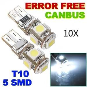 10xCanbus T10 194 168 W5W 5050 5 LED SMD Car Side Wedge Light Bulb