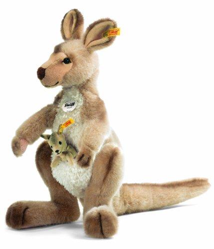 (Steiff 064623 Kango Kangaroo Plush Animal Toy, Beige Tipped)