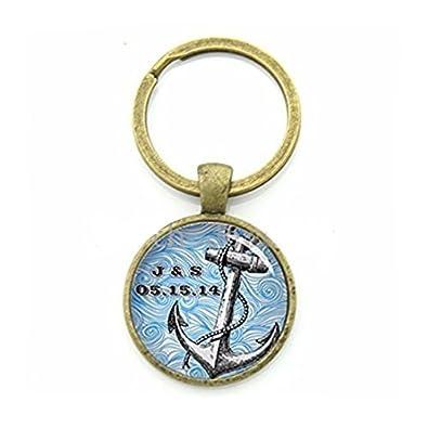 Moda barco ancla cadena de clave encanto azul telón de fondo ...