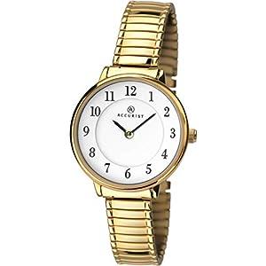 Accurist Womens Japanese Quartz Watch With Expanding Bracelet, Splash Resistant, Clear Full Figure Arabic Dial, 2 year…