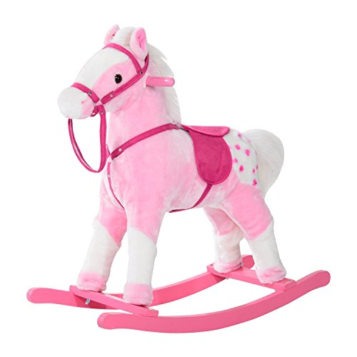 Qaba Kids Plush Toy Rocking Horse Pony with Realistic Sounds - Pink from Qaba