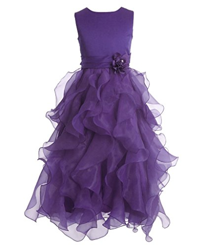 FAIRY COUPLE Girl's Ankle Length Cascading Layered Pageant Party Dress K0172 4 Purple