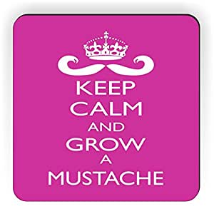 Rikki KnightTM Keep Calm and Grow a Mustache Rose Pink Color Design Square Fridge Magnet