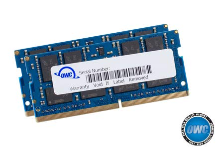 OWC 64GB (2 x 32GB) 2666MHz DDR4 PC4-21300 SO-DIMM 260 Pin Memory Upgrade, (OWC2666DDR4S64P), for 2018 Mac Mini (macmini18,1), 2019 27 inch iMac (iMac19,1) and PC laptops