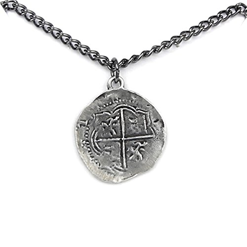 (Antique Finished Pieces of Eight Coin Necklace Pewter Replica of Spanish Coin - Made in USA-24
