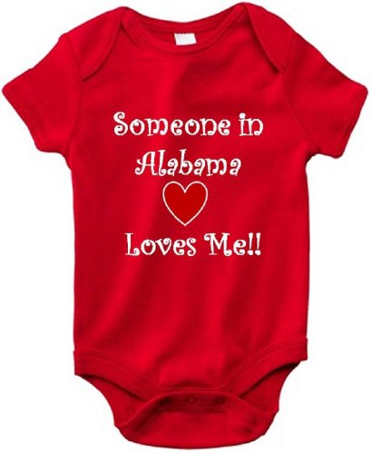 SOMEONE IN ALABAMA LOVES ME - ALABAMA BABY - State Series - Red Baby One Piece Bodysuit - White Lettering - size Small - Tuscaloosa 9