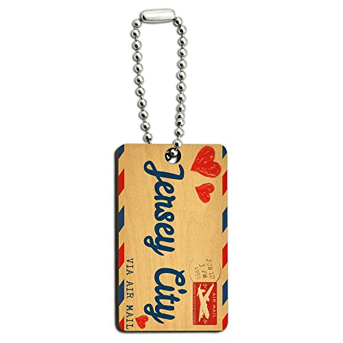- Air Mail Postcard Love for Jersey City Wood Wooden Rectangle Key Chain