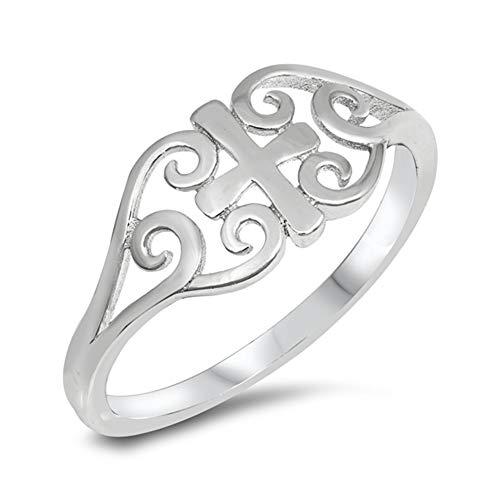 High Polish Celtic Heart Cross Filigree Ring 925 Sterling Silver Band Size 6