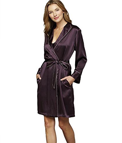 Julianna Rae Women's The Splendid Silk Short Robe, Voluta, S by Julianna Rae