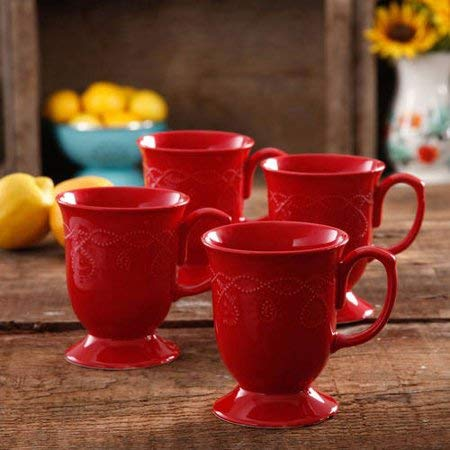 The Pioneer Woman Cowgirl Lace Mug Set, Set of 4 (Red)