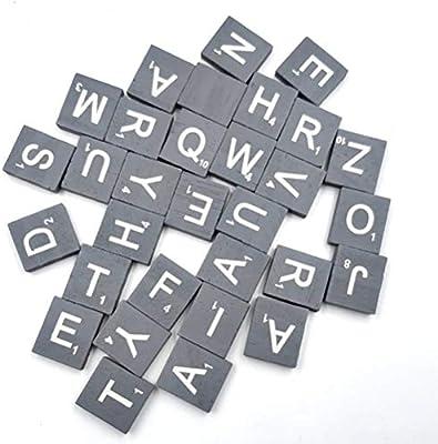 EXCEART 100 Piezas de Madera Ahplabet Azulejos Madera Carta Azulejos Madera Rebanadas 26 Letras Alfabeto Rompecabezas Madera Scrabble Azulejos para Artesanía: Amazon.es: Hogar