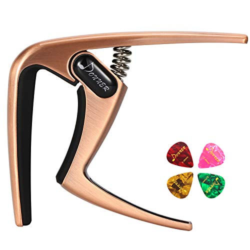 Donner Guitar Capo DC-3 for Acoustic and Electric Guitar Ukulele Banjo Mandolin Cooper With Picks
