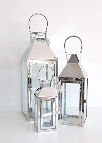 Afloral Set of 3 Decorative Silver Metal Candle Lanterns