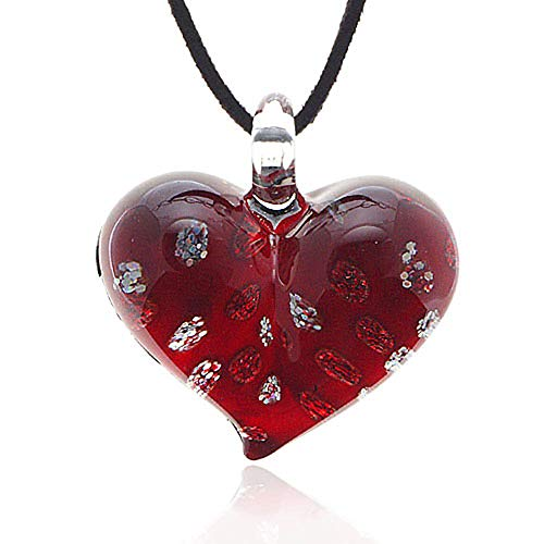 Chuvora Hand Blown Venetian Murano Glass Red with Tiny Flowers Pendant Necklace, 18-20 inches