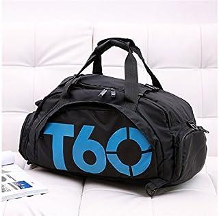 KinTTnyfgi Unisexe Sac de Sport de Grande capacité extérieure Holdall Voyage Weekender Duffel Bag pour Hommes et Femmes (Noir + Bleu) pour Work Work Workout
