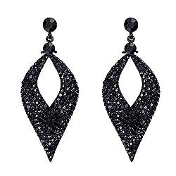 Women's Crystal Hollow Leaf Chandelier Dangle Earrings