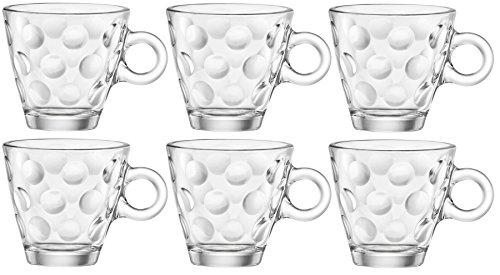 Bormioli Rocco Dots Espresso Coffee Glasses - Set of 6-100ml - Bormioli Cups Rocco Espresso