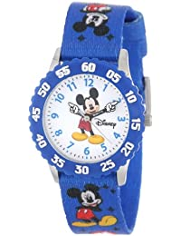 Kids' W000232 Mickey Mouse Stainless Steel Time Teacher Watch with Blue Nylon Band