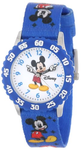 (Disney Kids' W000232 Mickey Mouse Stainless Steel Time Teacher Watch with Blue Nylon Band)