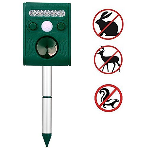 Ultrasonic Solar Animal & Pest Repeller, Wikoo Waterproof Repellent, Pest Control for Dogs, Foxes, Birds, Skunks, rodents etc, Motion Activated, Includes USB Cable (Repeller Bird)